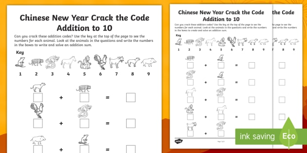 chinese new year crack the code addition to 10 worksheets early years. Black Bedroom Furniture Sets. Home Design Ideas
