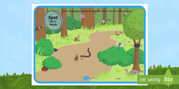 Phase 5 ir Words Minibeasts Scene Magnifying Glass Activity Sheet - phonics, letters and sounds, phase 3, ir sound, magnifier, magnifying glass, find, activity, group,