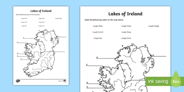Lakes of Ireland Map Activity Sheet, worksheet