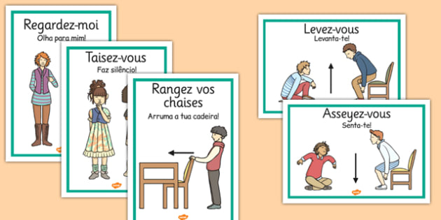 French Classroom Instructions Display Posters Portuguese Translation - portuguese, classroom instructions, display posters, display, posters