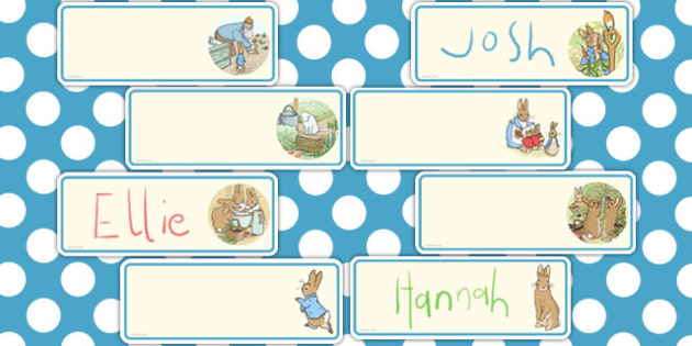 The Tale of Peter Rabbit Editable Drawer Peg Name Labels