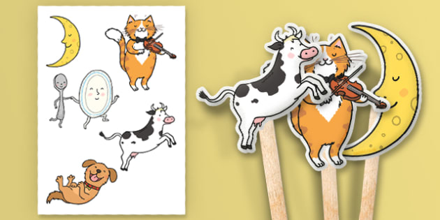 Hey Diddle Diddle Stick Puppets - Hey Diddle Diddle, nursery rhyme, stick puppet, rhyme, rhyming, nursery rhyme story, nursery rhymes, Hey Diddle Diddle resources, fiddle, cat