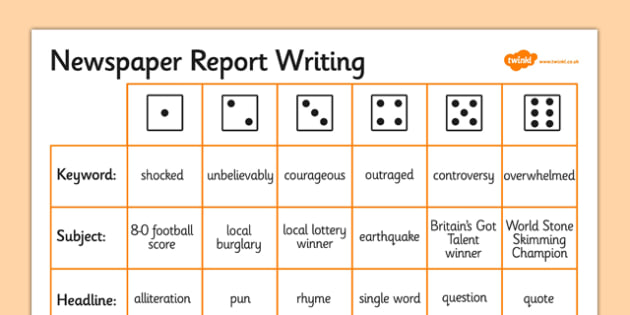 T2 E 937 Newspaper Report Writing Dice Activity on Earthquake Worksheet