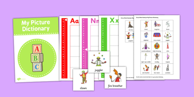 Picture Dictionary Circus Word cards - circus, word cards, cards