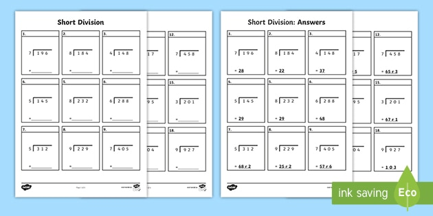 Short Division Of Three Digit Numbers Worksheet Short division worksheet twinkl