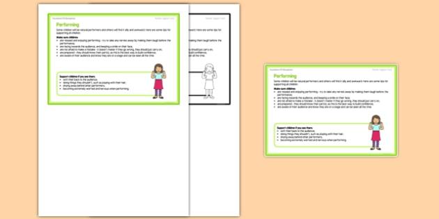 Foundation PE (Reception) - Performance Teacher Support Card - EYFS, PE, Physical Development, dance