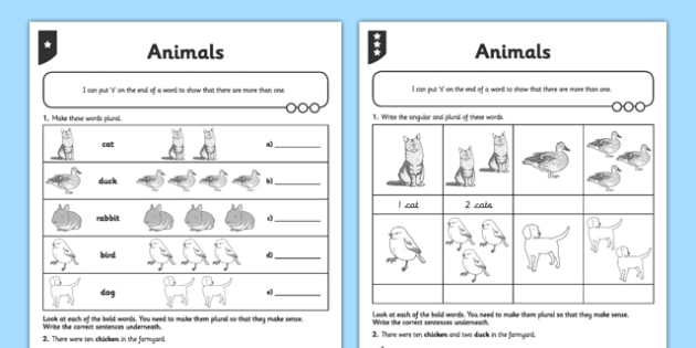 Differentiated Animals Activity Sheet - GPS, spelling, grammar, suffix, plural, worksheet