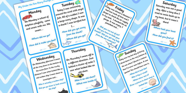 My Diving Diary Prompt Cards (Under the Sea) - under the sea, under the sea diary, under the sea diary writing prompts, diver diary writing prompts, diving, diving diary