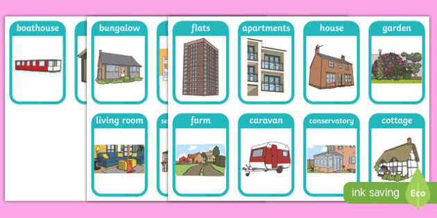 Houses and Homes Flashcards - house, home, flash card