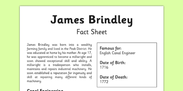 James Brindley Fact Sheet - canals, james brindley, engineer, british, geography