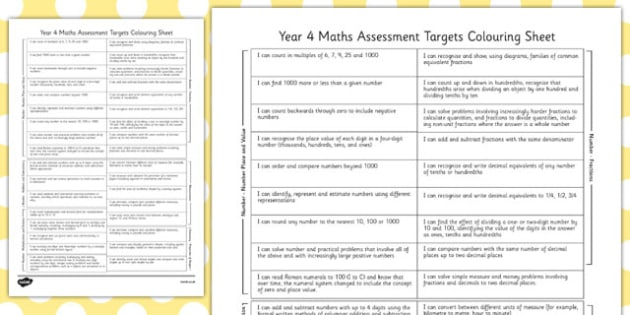 Year 4 Maths Assessment Targets Colouring Sheet - year 4, assessment