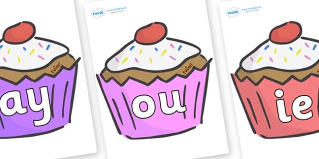 Phase 5 Phonemes on Cupcakes - Phonemes, phoneme, Phase 5, Phase five, Foundation, Literacy, Letters and Sounds, DfES, display
