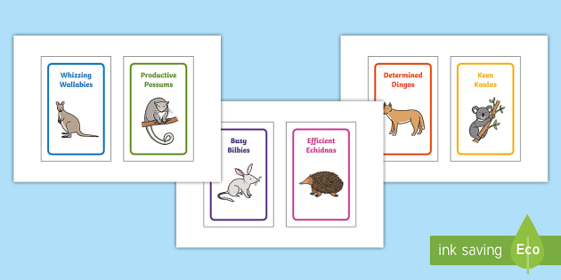 Australian Animal Group Table Signs IKEA Tolsby Frame