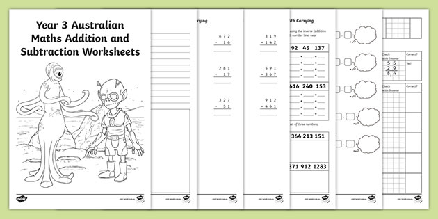 Addition & Subtraction Australian Year 3 Maths Worksheets
