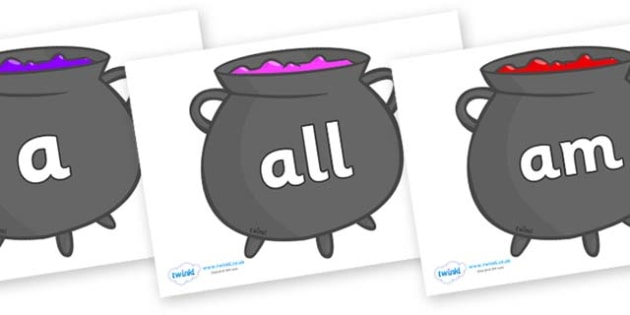 Foundation Stage 2 Keywords on Cauldrons (Plain) - FS2, CLL, keywords, Communication language and literacy,  Display, Key words, high frequency words, foundation stage literacy, DfES Letters and Sounds, Letters and Sounds, spelling