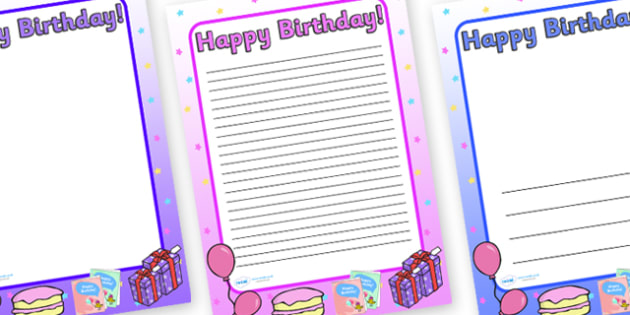 Happy Birthday A4 Page Borders Images - page border, a4 border, template, writing, birthdays,