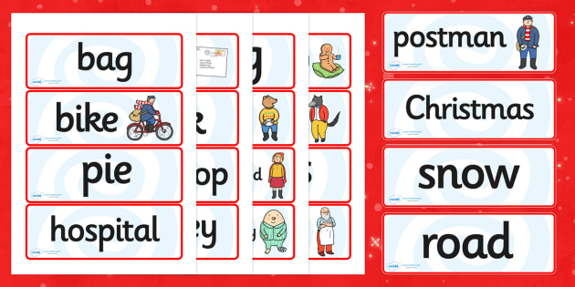 Word Cards to Support Teaching on The Jolly Christmas Postman - the jolly christmas postman, word cards, the jolly postman themed word cards, christmas word cards