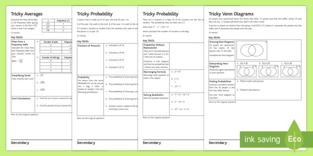 Gcse Probability And Statistics Problem Solving Activity Sheets