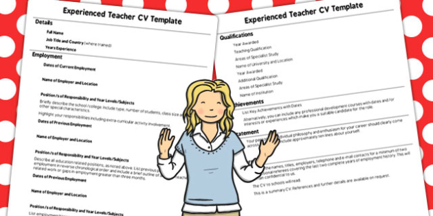 experienced teacher cv template teacher template experience
