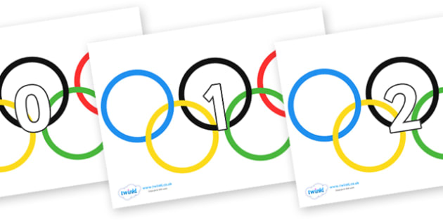Numbers 0-31 on Olympic Rings - 0-31, foundation stage numeracy, Number recognition, Number flashcards, counting, number frieze, Display numbers, number posters