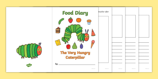 7 Day Food Diary Writing Frame to Support Teaching on The Very Hungry Caterpillar - the very hungry caterpillar, 7 day food diary, food diary, diary, journal, seven day, planner, my diary, booklet, page border, writing template, record, healthy eatin