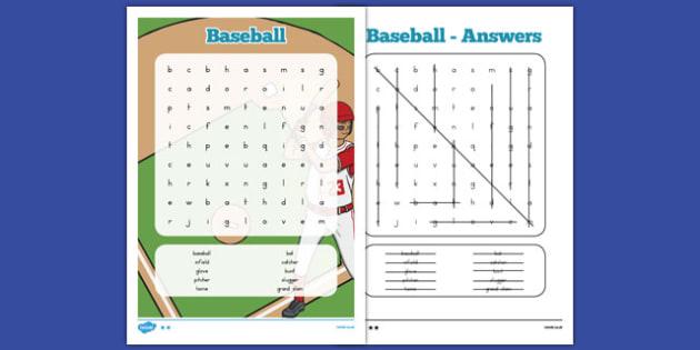 Baseball Word Search - usa, america, baseball, mlb, major league baseball, word search