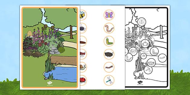 Minibeast Habitat Cut and Stick Scene Poster - minibeast, habitat, cut and stick, scene, poster, display, cut, stick, activity
