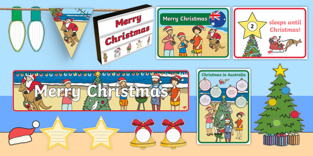 Australia Christmas.Australian Christmas Themed Display Resource Pack