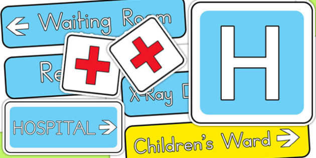 Hospital Display Signs - hospital role play, roleplay, sign, prop
