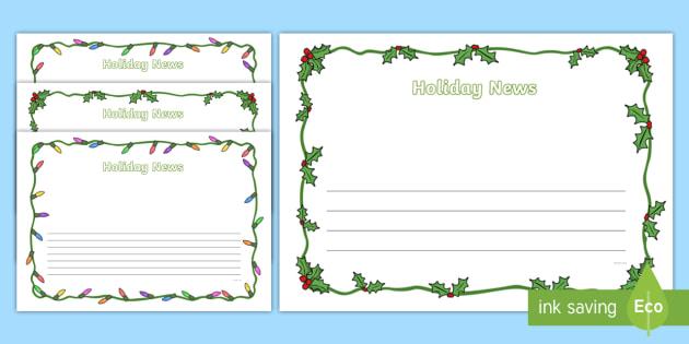 Christmas Page Border.Holiday News Page Border Pack Christmas Page Borders