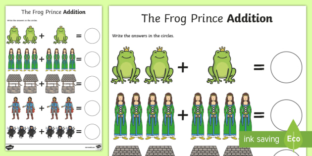 The Frog Prince Addition Sheet - the frog prince, addition sheet, addition, the frog prince addition, addition worksheet, the frog prince worksheet, maths
