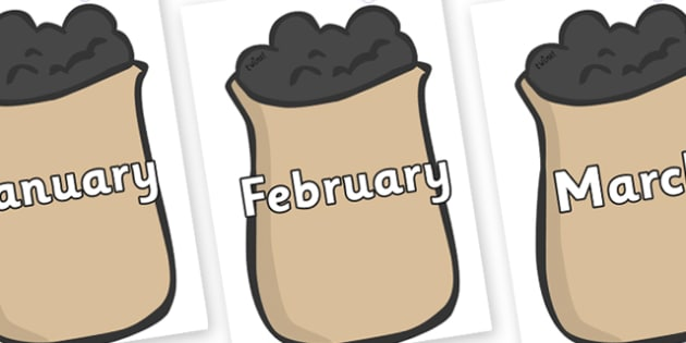 Months of the Year on Bags of Wool - Months of the Year, Months poster, Months display, display, poster, frieze, Months, month, January, February, March, April, May, June, July, August, September