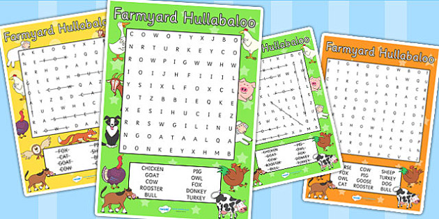 Word Search to Support Teaching on Farmyard Hullabaloo - farm, word search, word games