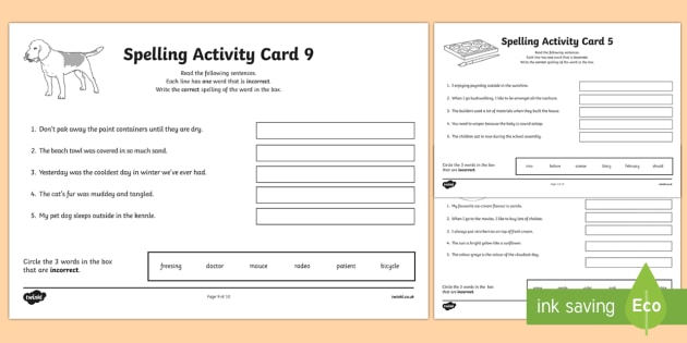 Australian Year 5 Spelling Mistakes Set Two Worksheet / Activity Sheets-Australia