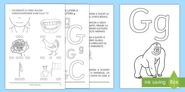 Învățăm litera G g Broșură cu activități