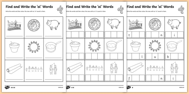oi words phonics differentiated worksheet pack twinkl. Black Bedroom Furniture Sets. Home Design Ideas