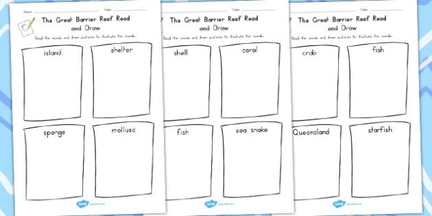 Great Barrier Reef Read and Draw Worksheet - australia, barrier