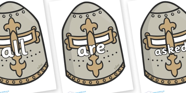 Tricky Words on Helmets - Tricky words, DfES Letters and Sounds, Letters and sounds, display, words