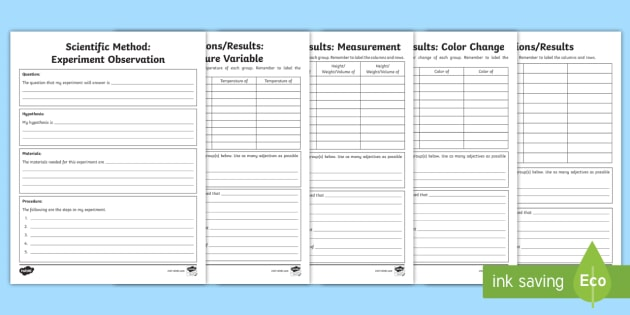 New Scientific Method Experiment Observation Writing Template
