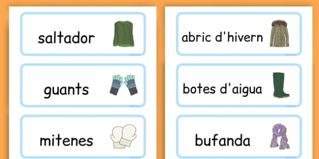 Winter Clothes Word Cards - winter clothes, word cards, winter, clothes - Catalan
