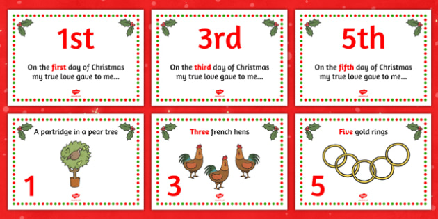 Twelve Days of Christmas Visual Aids - Twelve Days of Christmas, xmas, story, song, patridge, french hen, lord leaping, maid milking, turtle dove, gold ring, tree, advent, nativity, santa, father christmas, Jesus, tree, stocking, present, activity, c