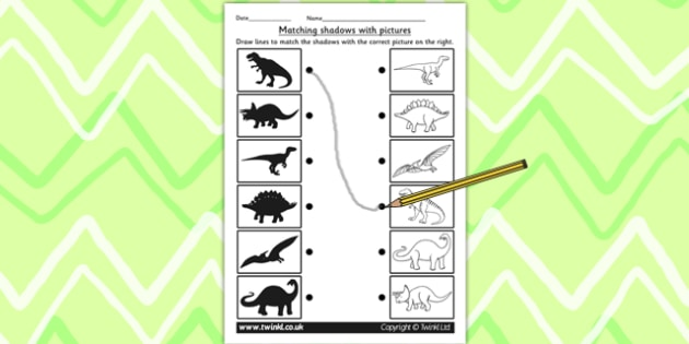 Dinosaur Shadow Matching Worksheet - shadows, silhouettes, match