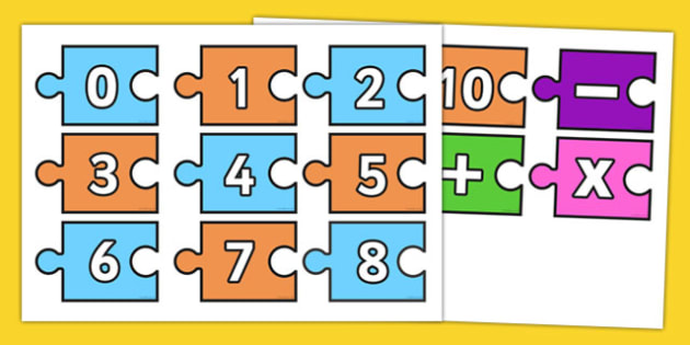 0-10 Calculation Jigsaw - 0-10, foundation stage numeracy, calculation, counting, jigsaw, adding, dividing, Number recognition, Number flashcards, counting, number frieze, Display numbers, number posters