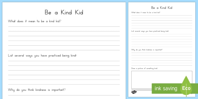 Kind Kid Writing Activity Sheet - Kindness, writing, acts of kindness, friendship, relationships, caring