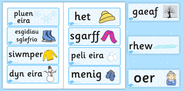 Winter Topic Word Cards Welsh Translation - winter, welsh, words