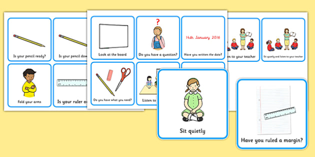 start of lesson prompt cards, classroom, help, check list, kids