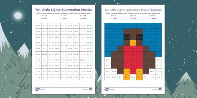 Ten Little Lights Maths Subtraction Mosaic Worksheet / Activity