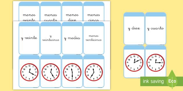 Tarjetas de emparejar: Decir la hora - tarjetas de emparejar, tarjetas, el tiempo, la hora, decir la hora, en punto, y cinco, y cuarto, y m