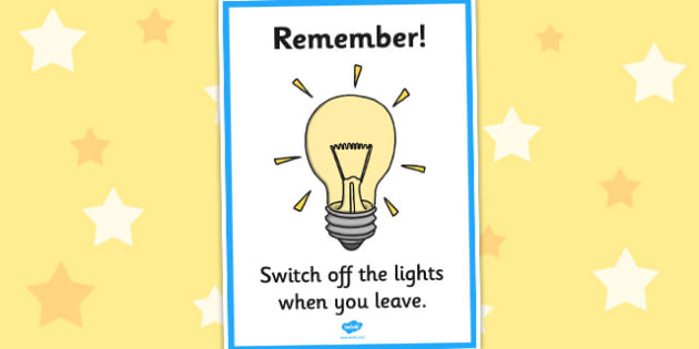 Switch Off the Light Sign A4 - switch, off, light, display sign, a4