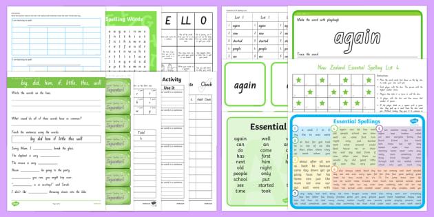 essential spelling lists 4 resource pack nz literacy. Black Bedroom Furniture Sets. Home Design Ideas